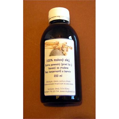 Domácí makový olej 200ml lisovaný za studena (první lis) - extra panenský (domácí výroba)