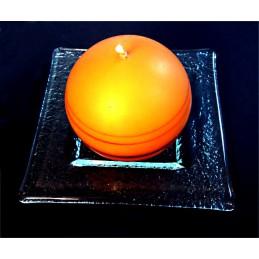 miska - číré sklo - svícen (ruční práce)