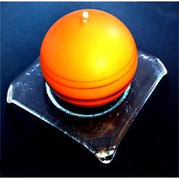 tác čtvercový číré sklo - lomené rohy - svícen (ruční výroba)