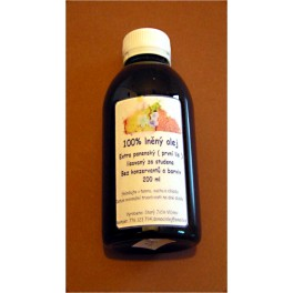 Domácí lněný olej 200ml lisovaný za studena (první lis) - extra panenský (domácí výroba)