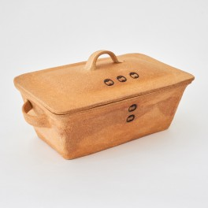 hranatá forma na chleba - kameninová forma s poklicí na chleba (ruční výroba)