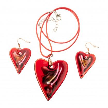 sada (náušnice a přívěsek) VII - srdce -  malované sklo (ruční výroba)