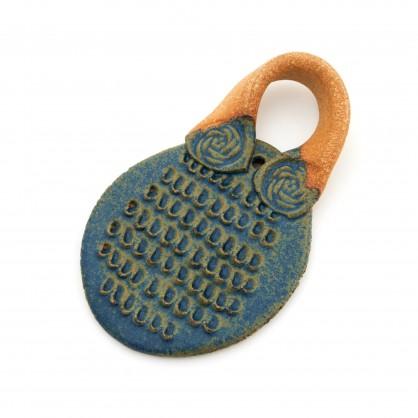 keramické struhadlo na česnek - modré (ruční výroba)