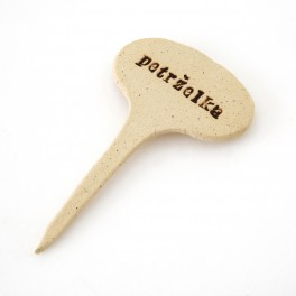 PETRŽELKA - keramická jmenovka k bylinkám (ruční výroba)